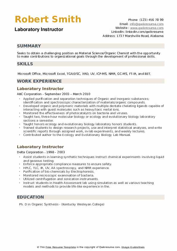 Laboratory Instructor Resume example