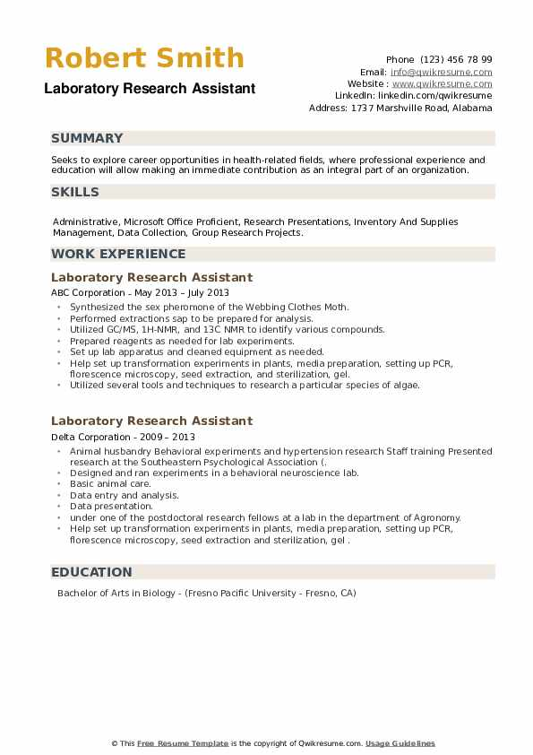 Laboratory Research Assistant Resume example