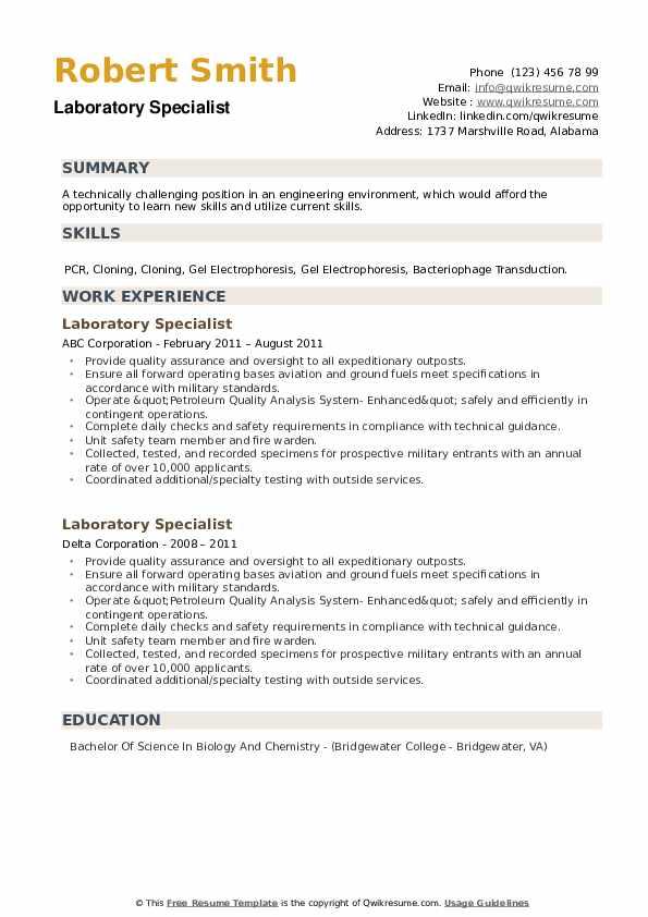 Laboratory Specialist Resume example