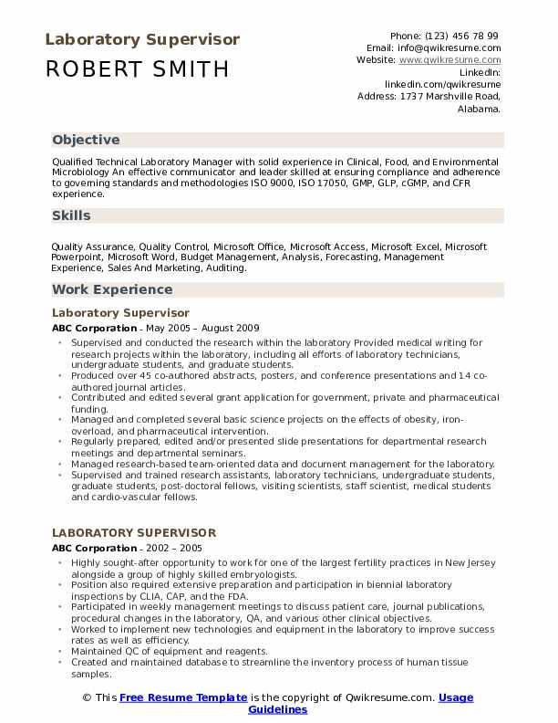 Laboratory Supervisor Resume Samples Qwikresume