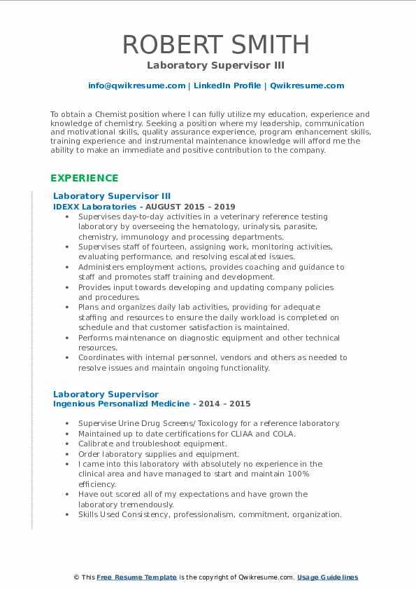 Laboratory Supervisor III Resume Format