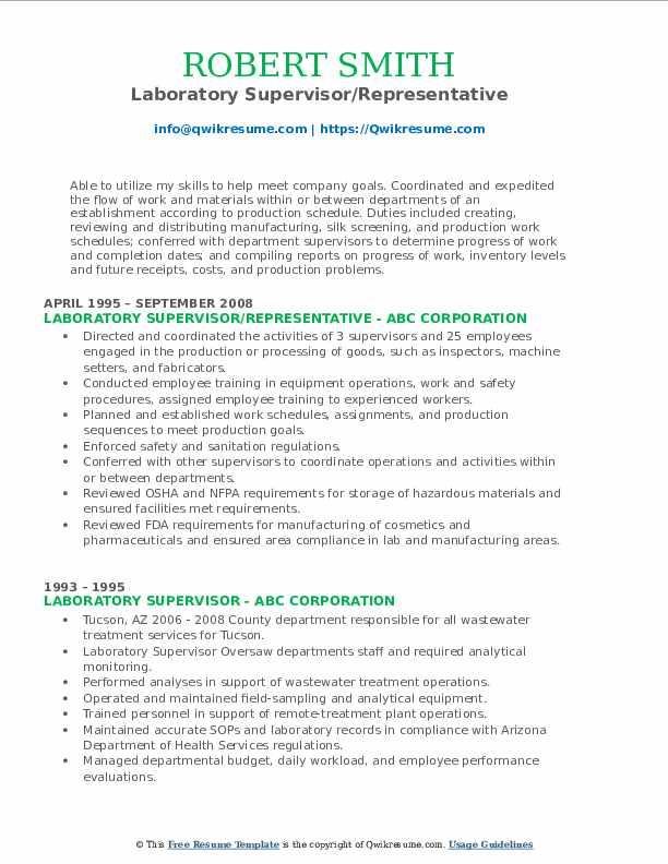 Laboratory Supervisor/Representative Resume Sample