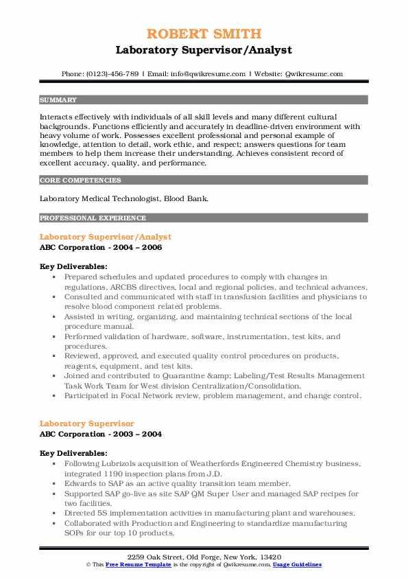 Laboratory Supervisor/Analyst Resume Template