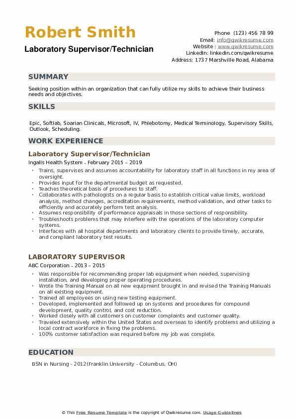 Laboratory Supervisor/Technician Resume Template