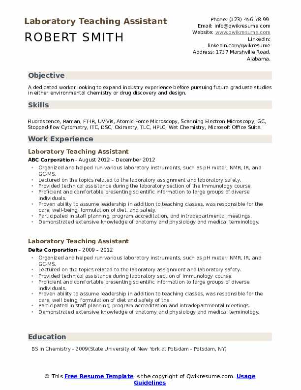 Laboratory Teaching Assistant Resume example