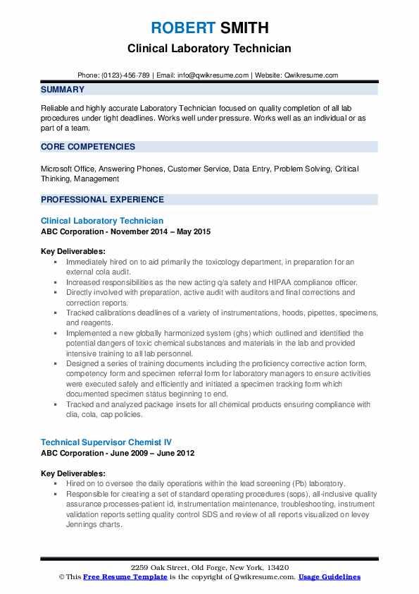 Clinical Laboratory Technician Resume Template