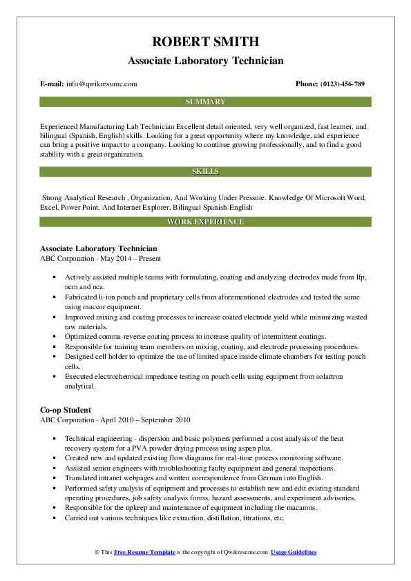 Associate Laboratory Technician Resume Example