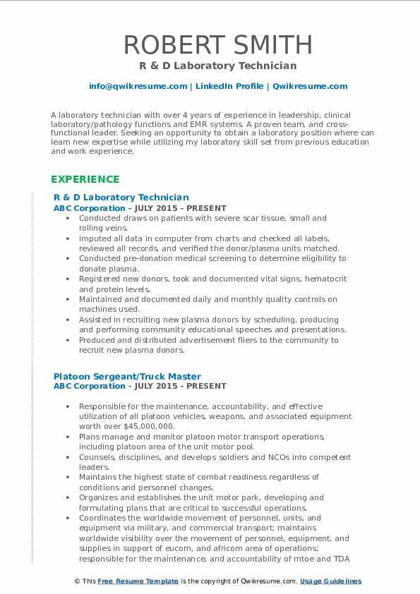R & D Laboratory Technician Resume Example
