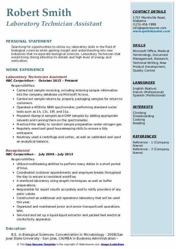 Laboratory Technician Assistant Resume Model