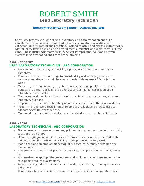Laboratory Technician Resume Samples Qwikresume