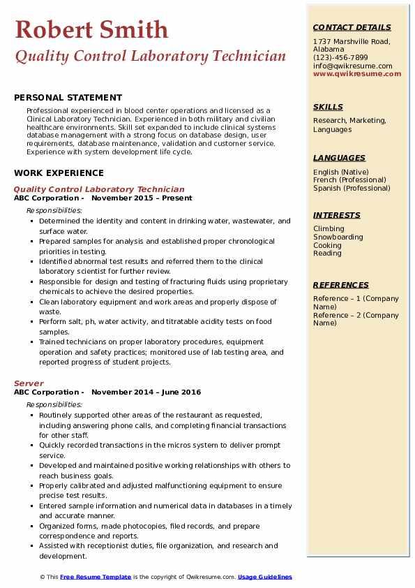 Quality Control Laboratory Technician Resume Model