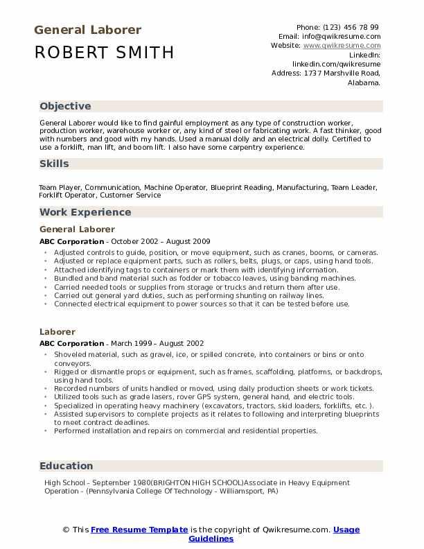 General Laborer Resume Format