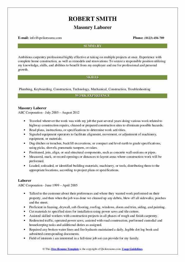 Masonry Laborer Resume Format