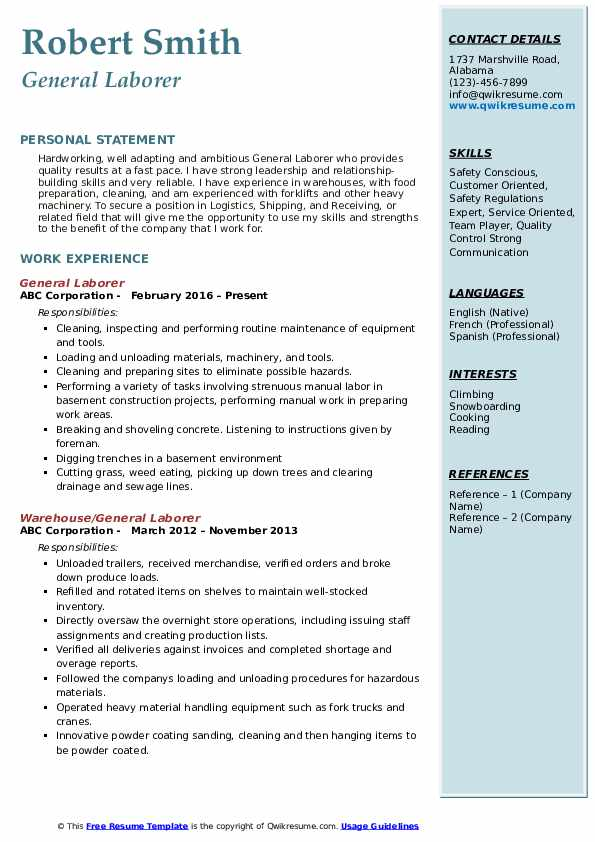 Laborer Resume Samples Qwikresume