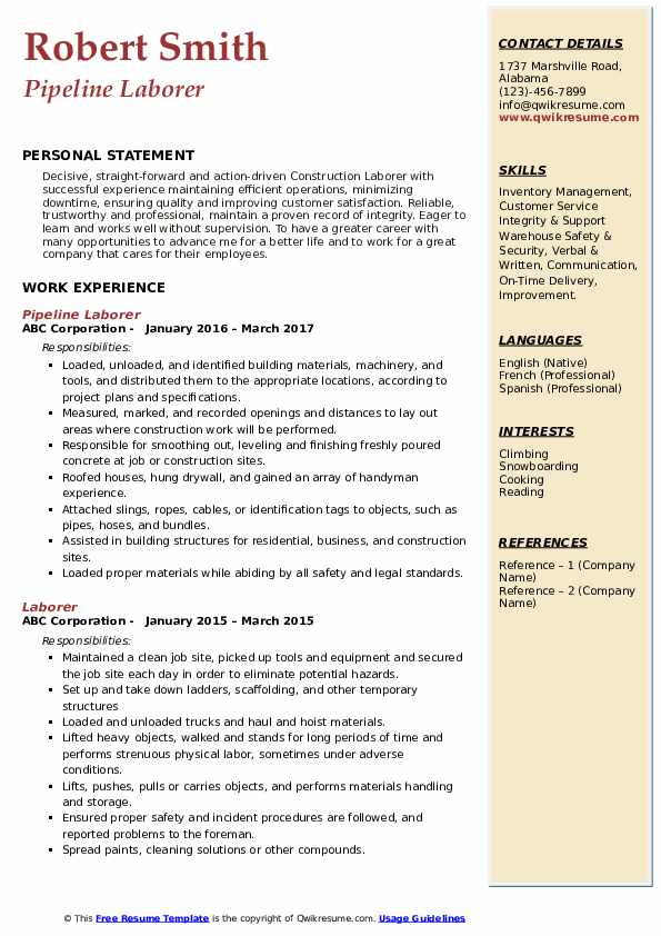 laborer resume samples