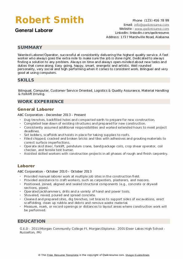 Laborer Resume example