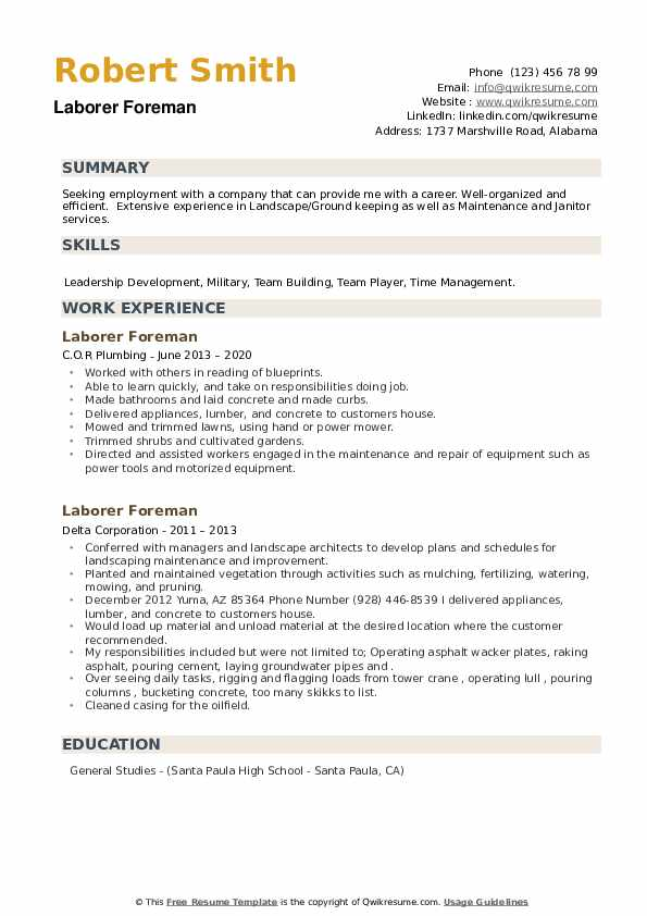 Laborer Foreman Resume example