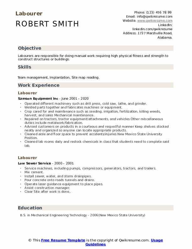Labourer resume samples kirriemuir literature review