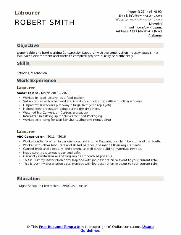 Labourer Resume example