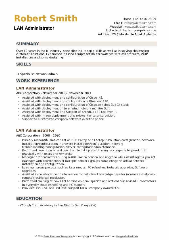 LAN Administrator Resume example