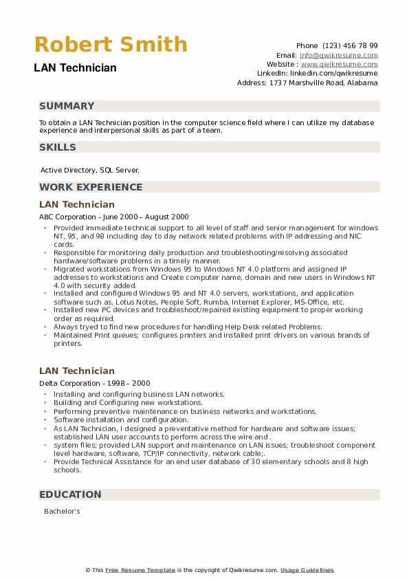LAN Technician Resume example
