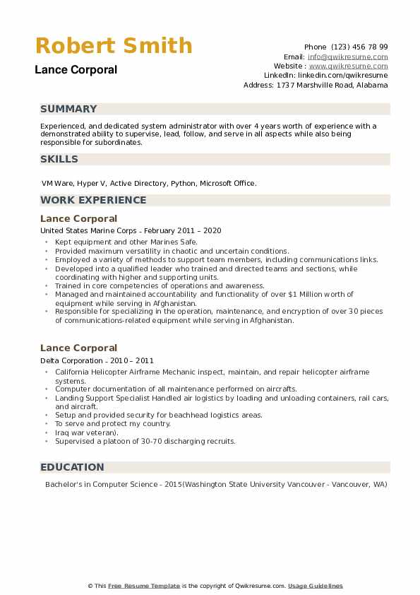 Lance Corporal Resume example