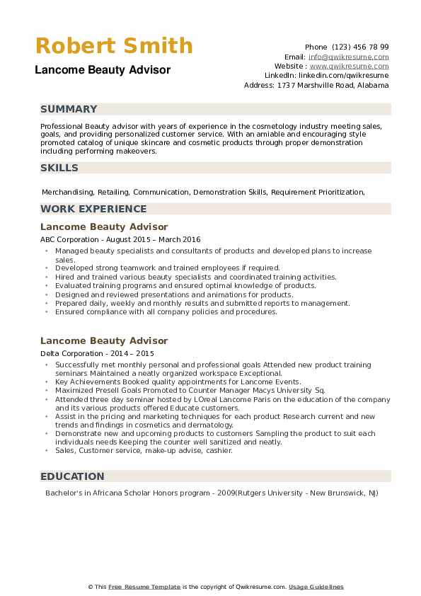 Lancome Beauty Advisor Resume example