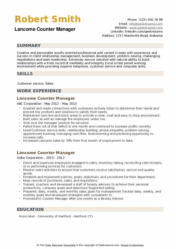 Lancome Counter Manager Resume example