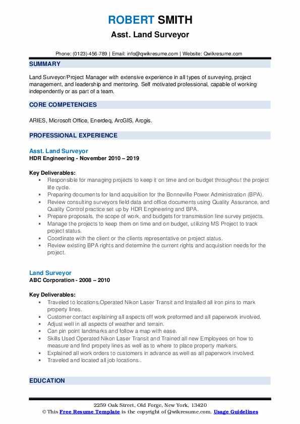 Asst. Land Surveyor Resume Example