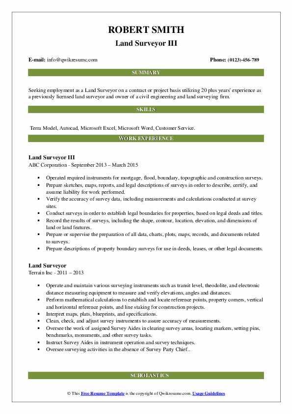 Land Surveyor III Resume Template