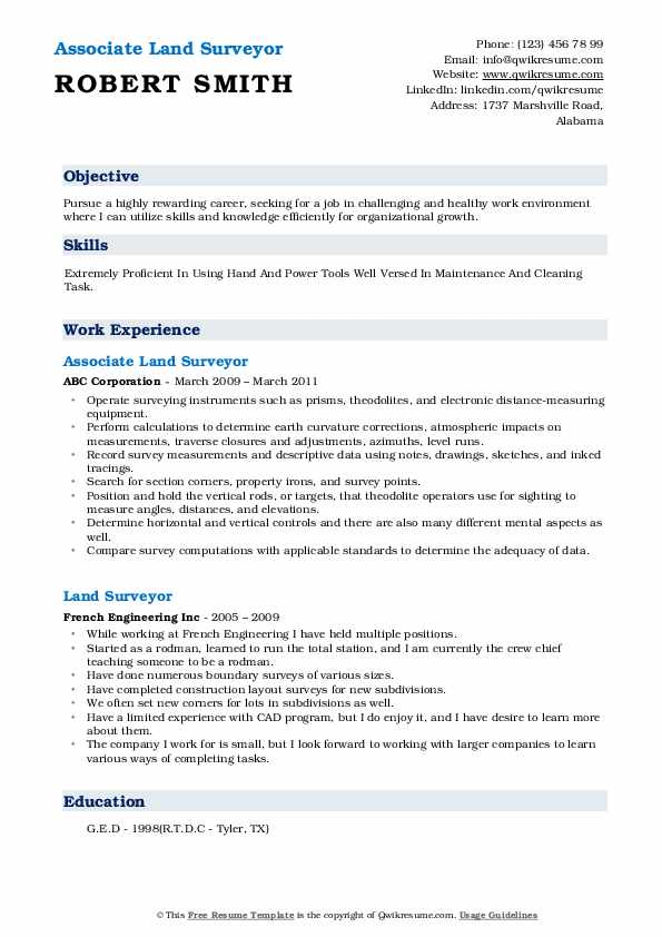 Associate Land Surveyor Resume Format