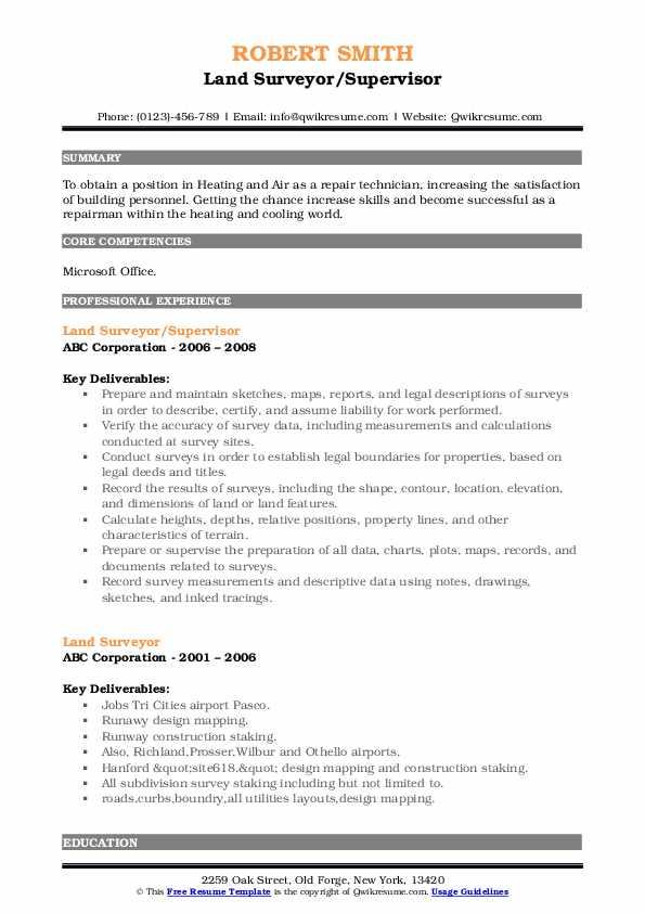 Land Surveyor/Supervisor Resume Template