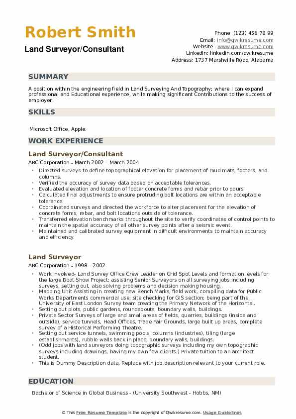 Land Surveyor/Consultant Resume Model