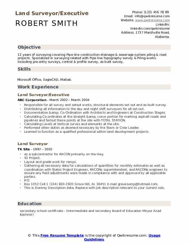Land Surveyor/Executive Resume Example