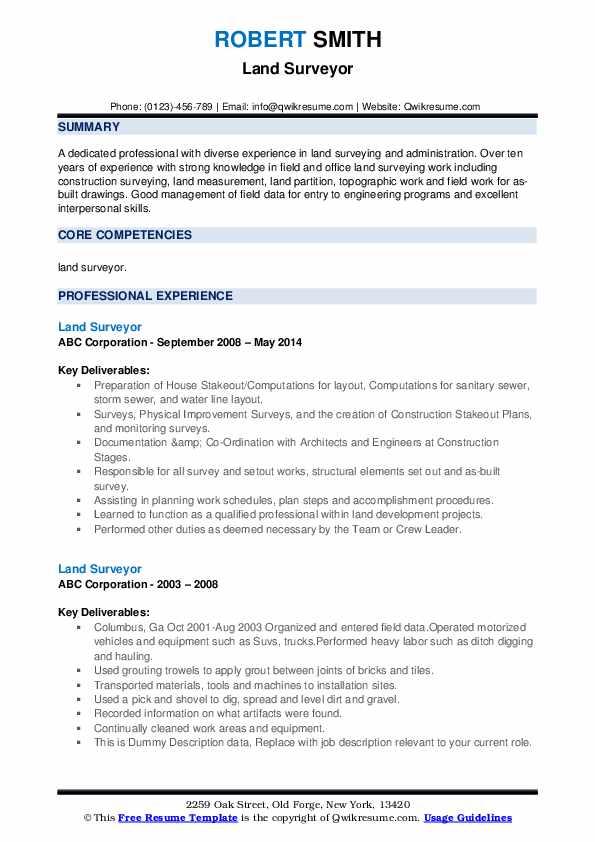 Land Surveyor Resume example