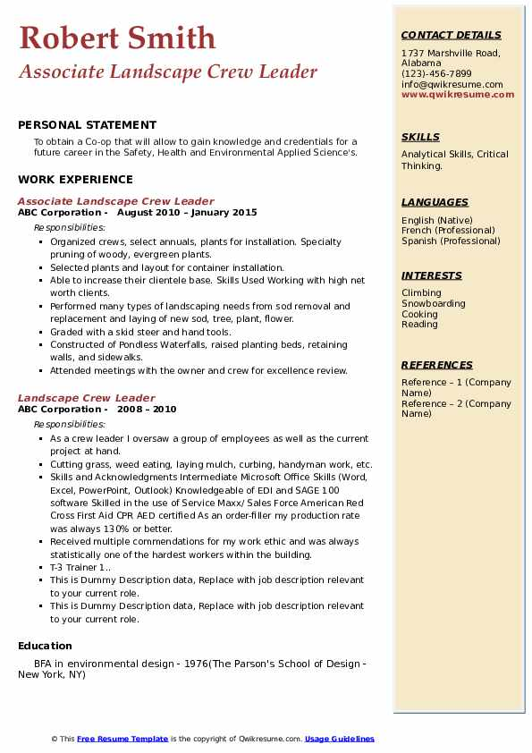 Landscape Crew Leader Resume Samples Qwikresume
