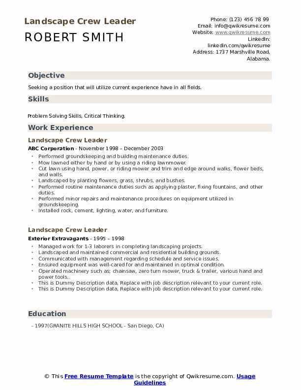 Landscape Crew Leader Resume example