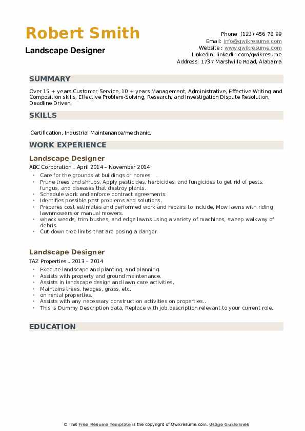 Landscape Designer Resume example