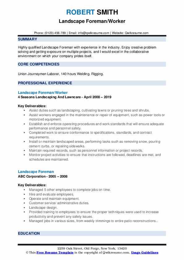 Landscape Foreman/Worker Resume Model