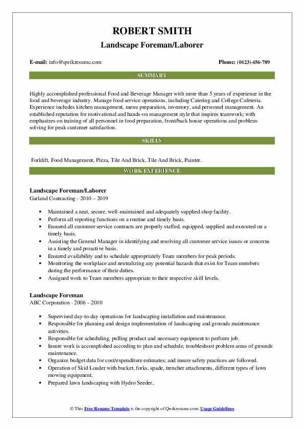 Landscape Foreman/Laborer Resume Template