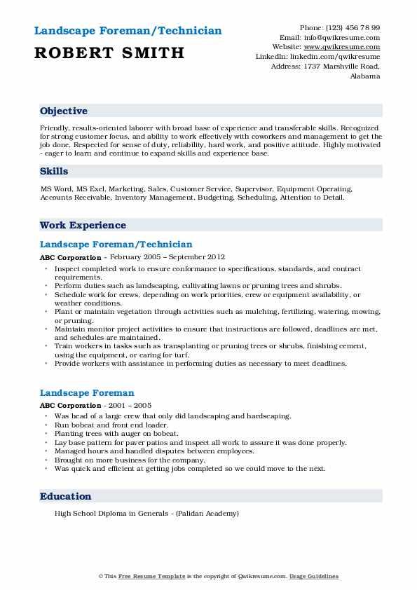 Landscape Foreman/Technician Resume Example