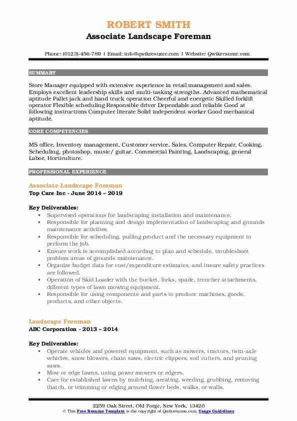 Associate Landscape Foreman Resume Model