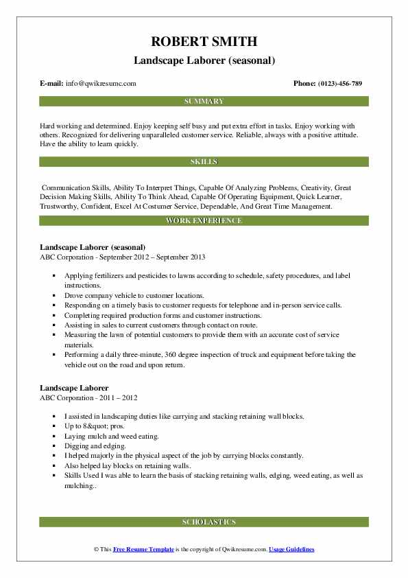 Landscape Laborer (seasonal) Resume Format