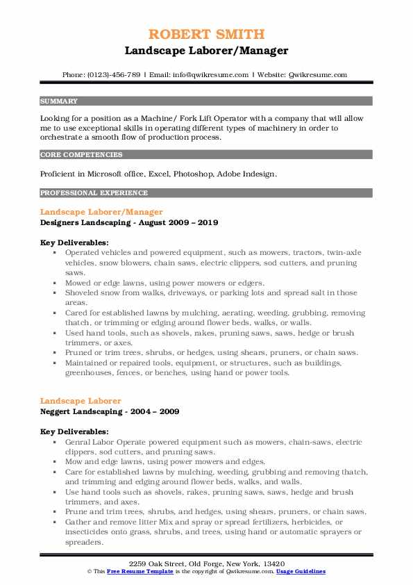 Landscape Laborer/Manager Resume Model