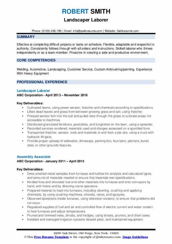 Landscaper Laborer Resume Format