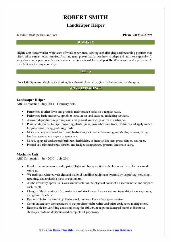 Landscaper Helper Resume Format