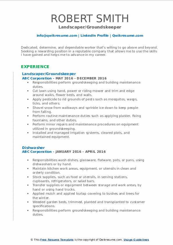 Landscaper/Groundskeeper Resume Format