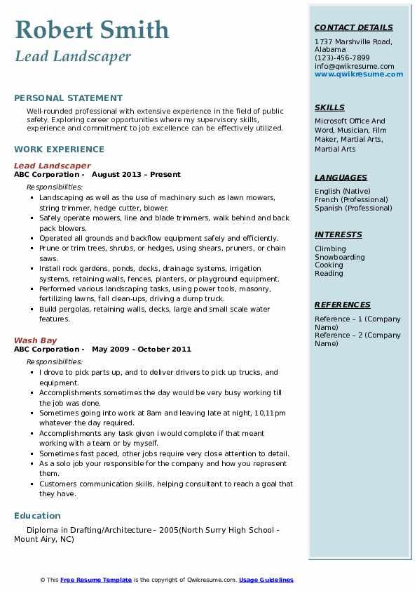 Lead Landscaper Resume Format