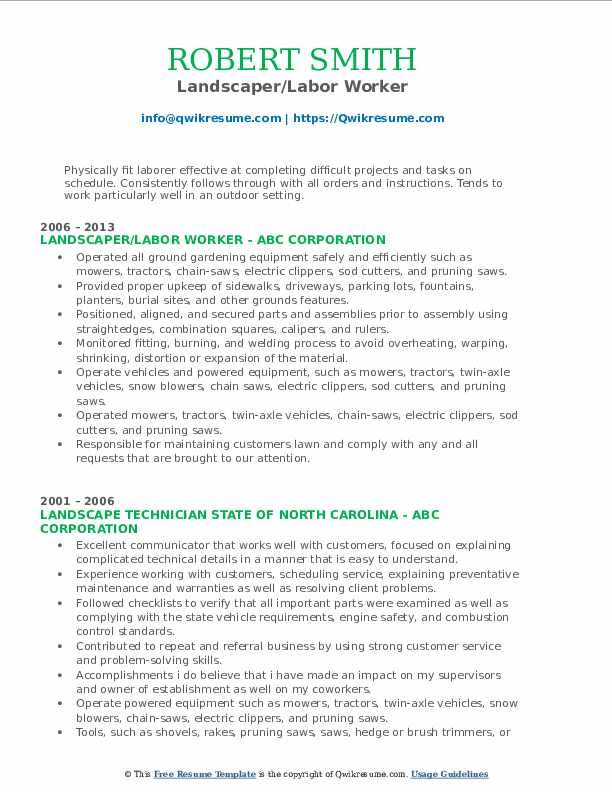 Landscaper Resume Samples Qwikresume