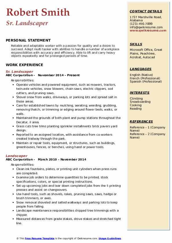 Sr. Landscaper Resume Format
